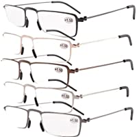 Eyekepper 5-Pack Straight Thin Stamped Metal Frame Half-eye Style Reading Glasses Readers +4.0