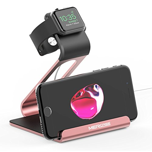 Apple Watch スタンド スマホスタンド ホルダー apple watch 3/2/1 38mm/42mm/iPhone/ Samsung Galaxy 他スマートフォン、タブレット対応 (ローズゴルード)