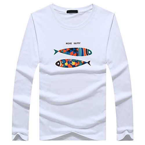 CHROME CRANE(クロム クレイン) メンズ 長袖 魚 柄 ロゴ プリント Tシャツ フィッシュ デザイン シャツ LPT008