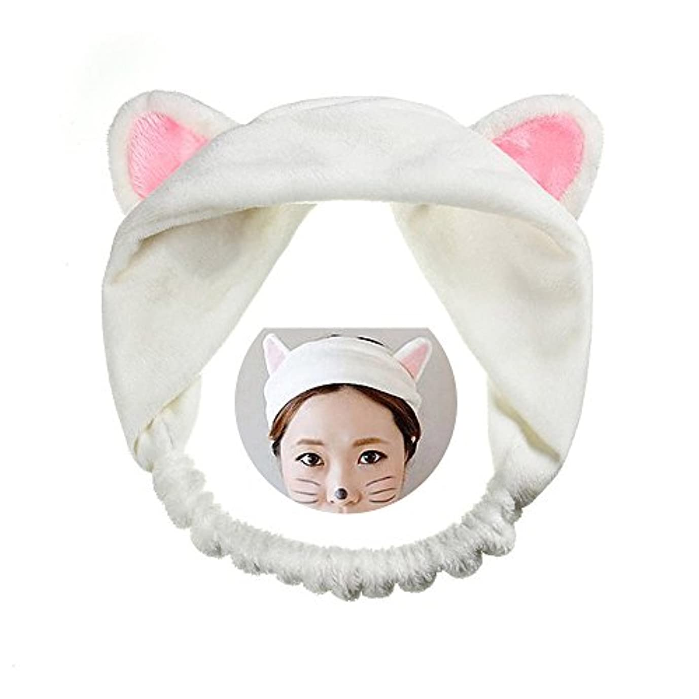締め切り薄汚い深く可愛い 猫 耳 ヘアバンド メイク アップ フェイス マスク スポーツ カチューシャ 髪型 ホワイト
