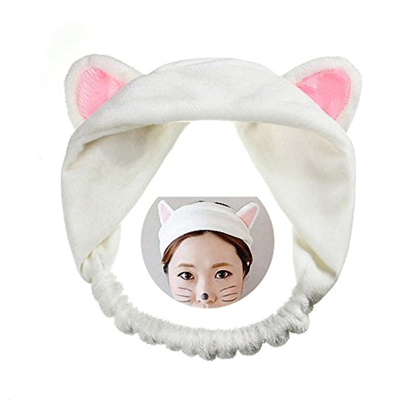美しい掻く革命可愛い 猫 耳 ヘアバンド メイク アップ フェイス マスク スポーツ カチューシャ 髪型 ホワイト