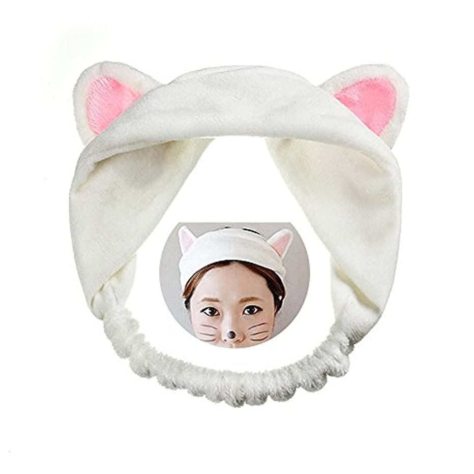 ロッジ大胆孤独可愛い 猫 耳 ヘアバンド メイク アップ フェイス マスク スポーツ カチューシャ 髪型 ホワイト