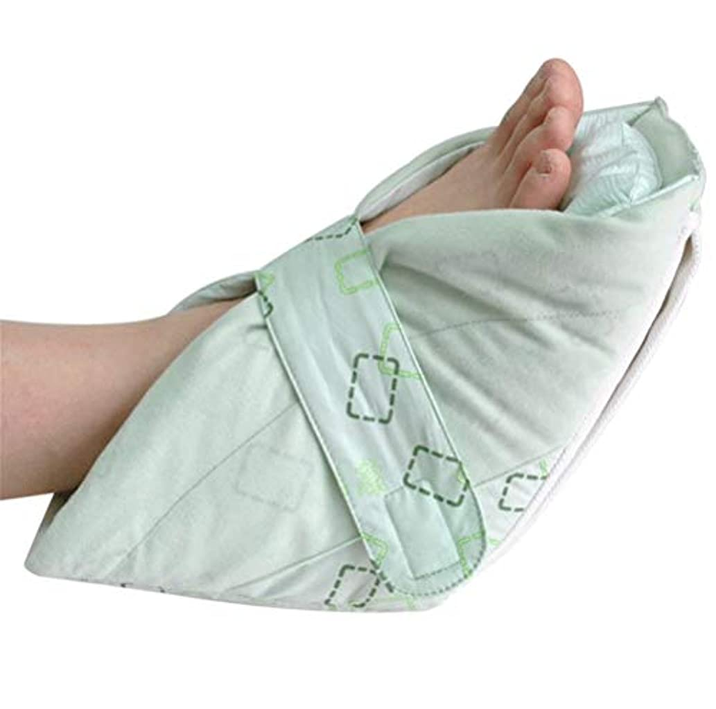 ヒールプロテクター枕、プレミアム圧力軽減フット補正カバー、極細コットン生地、インナークッションは分離可能、グリーン、1ペア