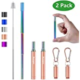 Tomight 2 Pack Telescopic Reusable Straws, Portable Stainless Steel Metal Straws with Case Cleaning Brush Carabiner Silicone Tips Keychain, Perfect for Travel, Home,Office Rose Gold/Rainbow