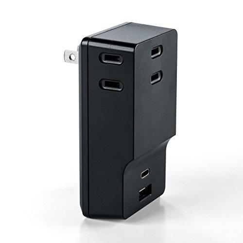 コンセントx 3・USB C・USB Aが一体になったUSB充電器(700-AC018BK)