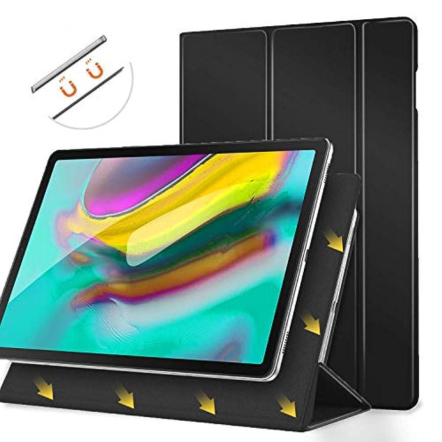 対処する相談するホラーMoKo スマートフォリオケース Samsung Galaxy Tab S5e 2019に適合 スリム 軽量 スマートシェル スタンドカバー 強力な磁気吸着 自動ウェイク/スリープ機能付き Galaxy Tab S5e SM-T720/SM-T725 タブレット用 - ブラック