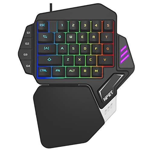 NPET ゲーミングキーボード 片手 メンブレン式 9色 RGBバックライト 左手用キーパッド 33キー USB カスタマ...