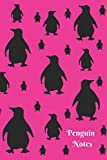 Penguin Notes: Cute Hot Pink and Black Penguin Pattern 6