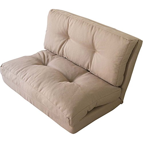 アイリスプラザ ソファ ベッド 3WAY 折り畳み 2人掛け ベージュ 幅約90cm KOLME CG-4Aー90-FAB