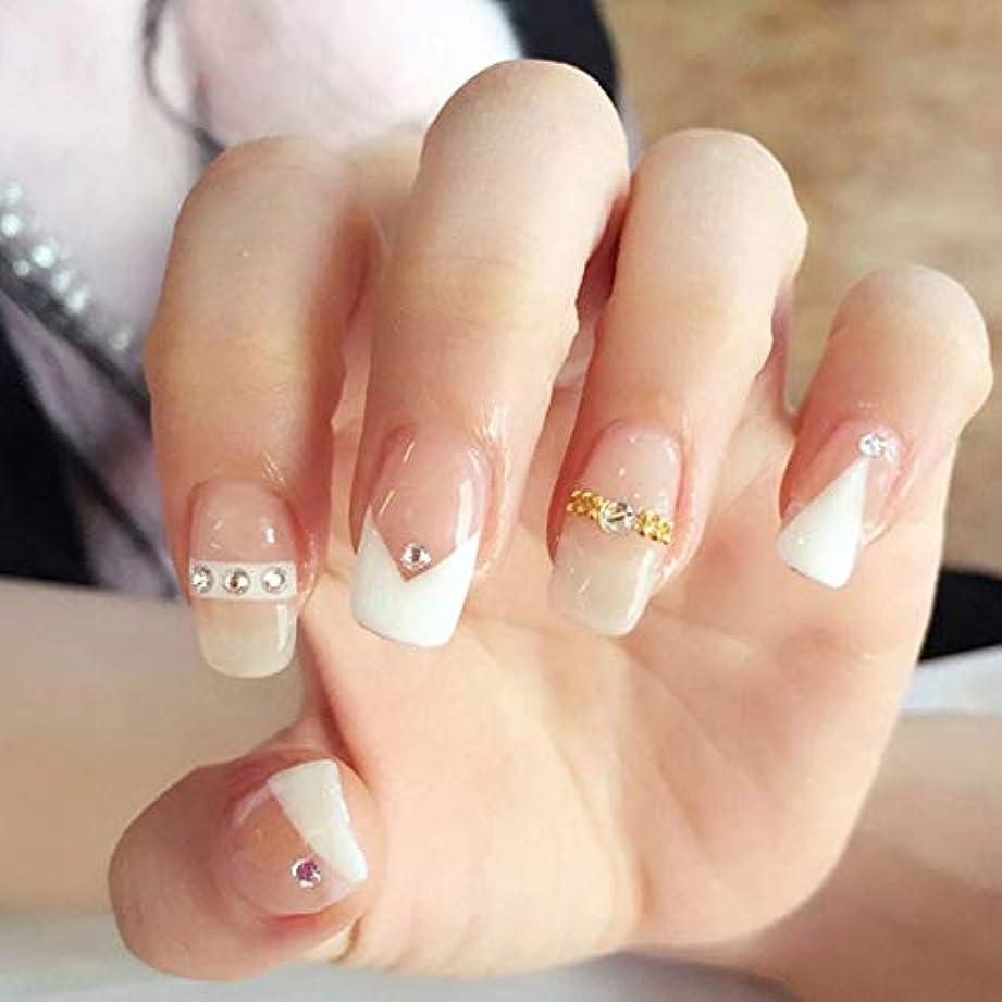 資本強制的かけるXUTXZKA 花嫁のネイルアートステッカーゴールドダイヤモンドホワイトステッチカラーフルカバーネイルフェイクネイル