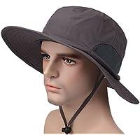 Befur UVカット サファリハット ユニセックス 無地 つば広 大きいサイズ アウトドア 日焼け防止 レディース メンズ