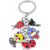 Modi Miraculous Ladybug Cat Keychain Charm Pendant Kwami Tikki & Plagg