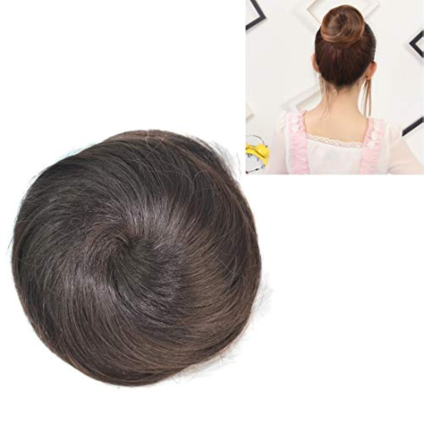 ブロー有毒ページ美しさ かつらの花の形のヘアパッケージヘアディスク ヘア&シェービング (色 : Black Brown)