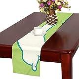 GGSXD テーブルランナー 小柄 グリーン猫 クロス 食卓カバー 麻綿製 欧米 おしゃれ 16 Inch X 72 Inch (40cm X 182cm) キッチン ダイニング ホーム デコレーション モダン リビング 洗える