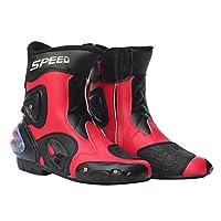 Fenteer 全18種類 メンズ オートバイ靴 バイク用レーシングブーツ ライディングシューズ レーシングブーツ 1ペア - レッド, 44