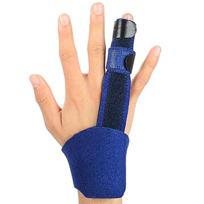 のぞき穴矢じり夕食を作るトリガー指スプリント、内蔵のアルミニウムを備えた調節可能な固定ベルト、腱炎、骨折または骨折した指の痛みを軽減します。