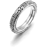 Astronomical Ball Ring Retro Flip Ball Open&Close Finger Ring Student Constellation Ring Silver 7