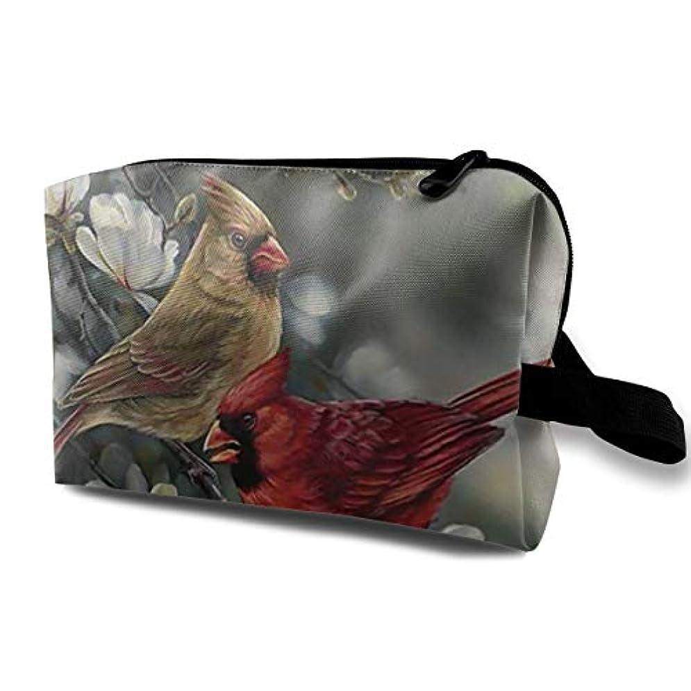 ブリリアント誇張と組むWinter Cardinal Birds 収納ポーチ 化粧ポーチ 大容量 軽量 耐久性 ハンドル付持ち運び便利。入れ 自宅?出張?旅行?アウトドア撮影などに対応。メンズ レディース トラベルグッズ