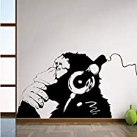 Lixiaoer ビニール壁デカール猿付きヘッドフォン1色チンパンジーイヤホンで音楽を聴くストリートグラフィティステッカー59 X 42 Cm