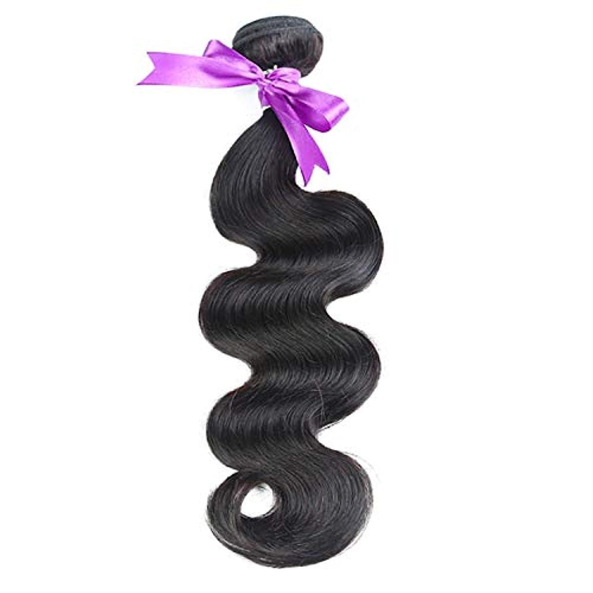 手順制裁オーバーランかつら ペルーの髪織り実体波髪バンドル100%人間の髪織りナチュラルカラー非レミー髪8-30インチ1ピース (Stretched Length : 16inches)