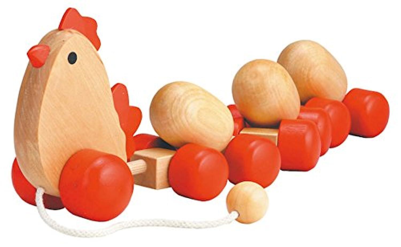 チキンLaying Eggプッシュとプル木製Toys