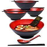 "4 Sets (12 Piece) Large Japanese Ramen Noodle Soup Bowl Dishware Set with Matching Spoon and Chopsticks for Udon Soba Pho Asian Noodles (4, Red, 8.6"")"