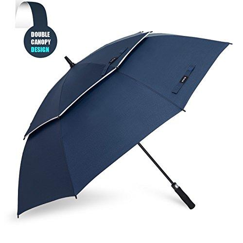 ゴルフ傘 長傘 ワンタッチ 自動開け大きな傘 100cm 梅雨対策 台風対応 ビジネス用 メンズ 青