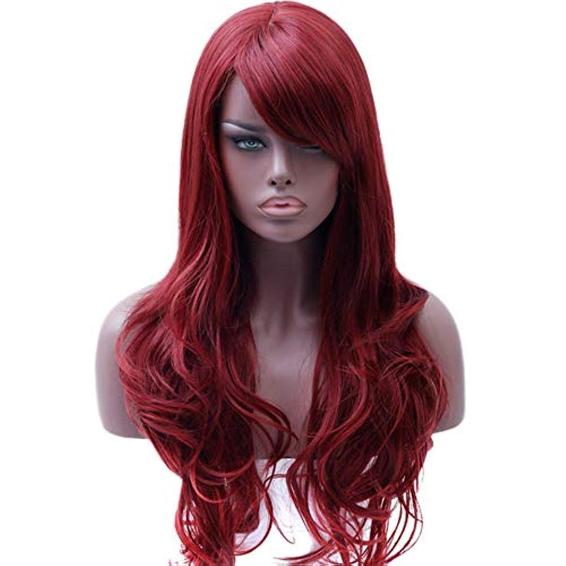 分解するタックル位置づける美しく 黒人女性サイドパート耐熱ウィッグ赤コスプレウィッグ用DIFEIロングレッドウィッグ波状の合成ウィッグ (Color : Red, Stretched Length : 28inches)