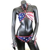 2WAY ビキニ レディース 水着 USA フラッグ アメリカ国旗柄 縁取り赤色 sw-03115053