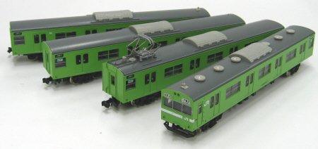 Nゲージ 1071T JR103系 関西形ユニット窓 低運転台 ウグイス4輛トータルセット (塗装済車両キット)