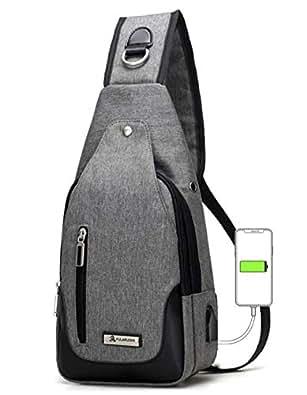 ボディバッグ メンズ 斜め掛け ワンショルダーバッグ USBポートイヤホン穴付き レディース大容量 軽量 防水 肩掛け カジュアル ブラックグレー (グレー)