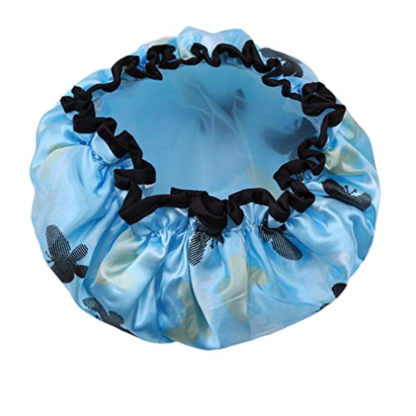 悔い改めドライバ経歴YUEHAO シャワーキャップ 入浴キャップ可愛い防水帽 弾性の防水ヘアキャップ 青い花の蝶