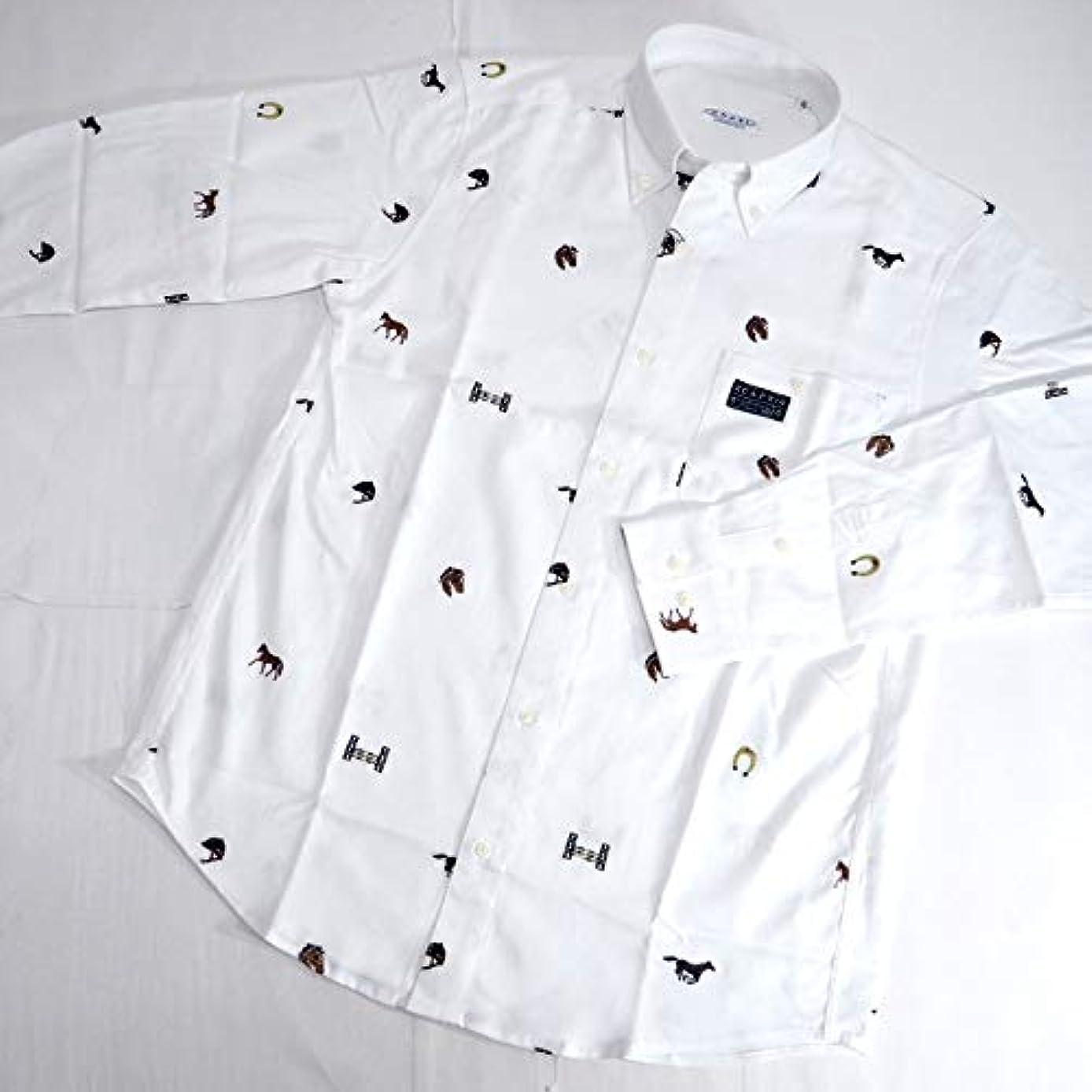 コショウ出発する蒸40438 秋冬 ボタンダウン ネルシャツ 長袖 刺繍 総柄 ホワイト(白) サイズ 46(M) CAPRI カプリ 紳士服 メンズ 男性用