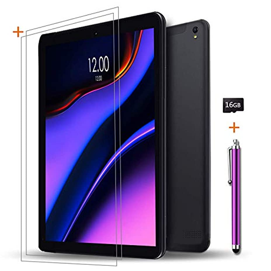 クレジットの間に誰Androidタブレット10インチSIMカードスロットロックなし+(2)スクリーンプロテクター+ 16GB SDカード+(1)スタイラスペン - IPS画面Octa Core 1GB RAM 16GB ROM 3G Phablet with GPS Bluetoothタブレット (黒)