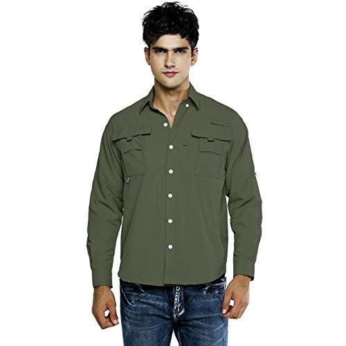 OCHENTAメンズ アウトドアウェア 襟付き 登山 速乾 スボーツ カジュアル 大きめサイズ 長袖 シャツ tシャツ アーミーグリーン S