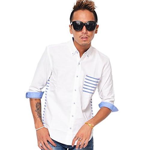 キャンディーファンタジー(CANDY FANTASY) 7分袖シャツ メンズ 7分袖 シャツ 七分袖 半袖シャツ カジュアルシャツ L ホワイト