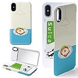 iPhone X/iPhone XS ケース カバー ミラー付き 目玉焼き パン エッグ トースト アイフォンX アイフォンXS アイフォンテンエス アイフォンテン アイフォン10 アイフォンエックス iPhone10 食べ物 朝食 iPhoneケース