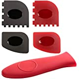 5-in-1 Cast Iron Cleaners & Handle Covers - 4 Durable Grill Pan Scrapers and Silicone Hot Handle Holder for Lodge Cast Iron Skillets, Frying Pans, Griddles, Kitchen Cookware Accessories