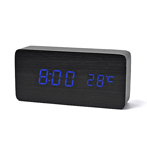 FiBiSonic デジタル LED 目覚し時計 置き時計 アラームクロック 多機能 音声感知 温度計 USB給電 木目調 おしゃれ インテリア プレゼント おき型 (黒・青字)