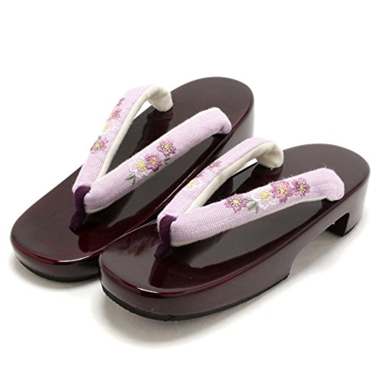 (キステ)Kisste 桜刺繍茶塗 桐下駄 LLサイズ 花緒:パープル <紫/桜刺繍> 7-1-03746