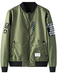 chenshiba-JP メンズリバーシブルジップアップ野球空軍爆撃機のフライトジャケットのパッチジャケット