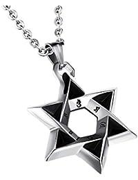 メンズステンレススチールsix-pointedダビデの星ペンダントネックレス19.6 CMネックレスチェーン、シルバーブラック