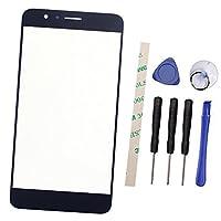Draxlgon 携帯電話の修理の交換のための外側スクリーンのフロントガラスレンズパネル 华为 Huawei Honor 8 Honor8 (液晶なし、デジタイザーなし) ツールを使って Preinstalled (青)