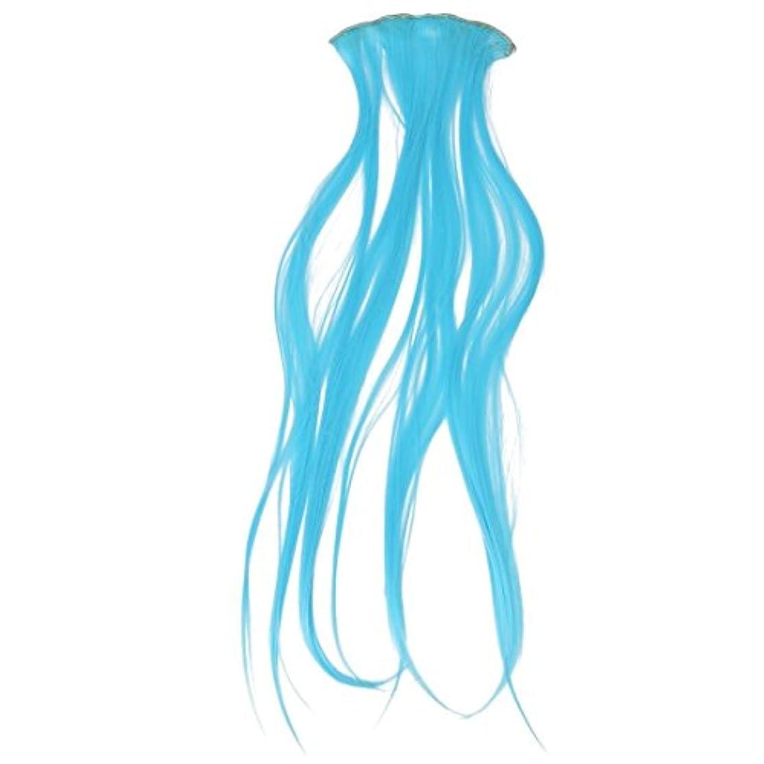 無効例外改修するヘアエクステンション,SODIAL(R) 8x本当の厚いレディースガールズロングフルヘアヘア クリップインヘアエクステンション 空色 66cm