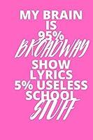 My Brain Is 95% Broadway Show Lyrics 5% Useless School Stuff: Inspirational notebook, motivational quote notebook, funny anniversary bridesmaid best friends best gift notebook