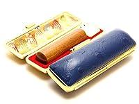 「なつめ印鑑16.5mm×60mmオーストリッチタイプケース(ブルー)付き」 横彫り 古印体
