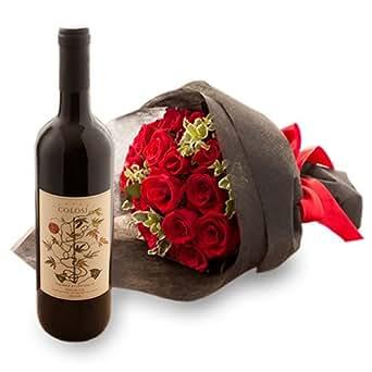 翌日配達お花屋さん ギフトセット 赤ワイン 赤バラ花束 コローシ・ネロ・ダーヴォラ