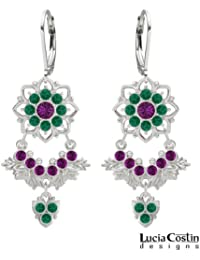 Lucia Costin Lofty Chandelier Earrings with 8 Petal Flowers and Leaf Elements, Adorned with Violet, Green Swarovski...