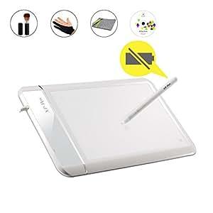 """XP - Pen Star01 8""""x5""""ペンタブレット/無電筆圧ペンサインボート/芸術家、初心者、デザイナー等用 サポートWindows7/10 Mac羊毛ライノー保護バッグと二本指グローブ 白い"""