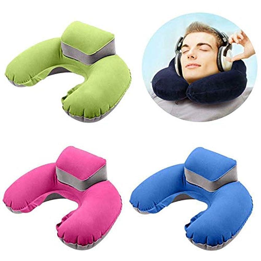 アベニューデイジー教育学インフレータブル飛行機旅行枕、360度サポート睡眠首枕、航空機付属品、車、バス、電車、オフィス仮眠、キャンプ,Green